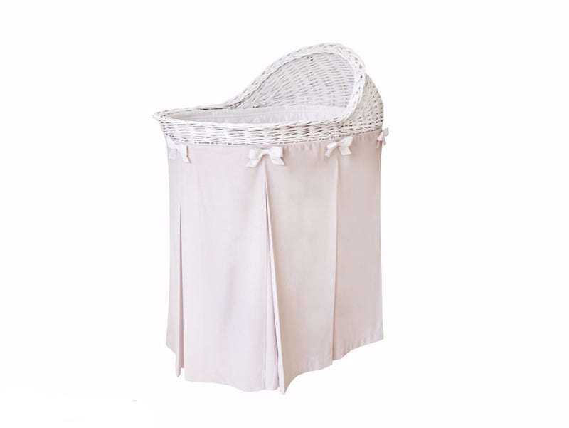 WICKER BASSINET WITH LIGHT PINK SKIRT