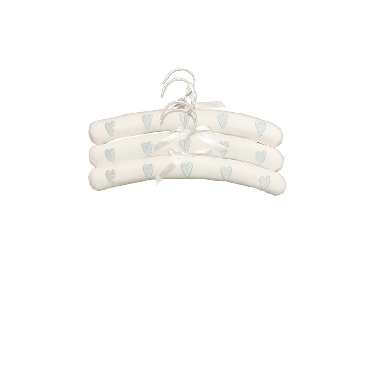 BLUE HEARTS PADDED HANGERS - SET OF THREE