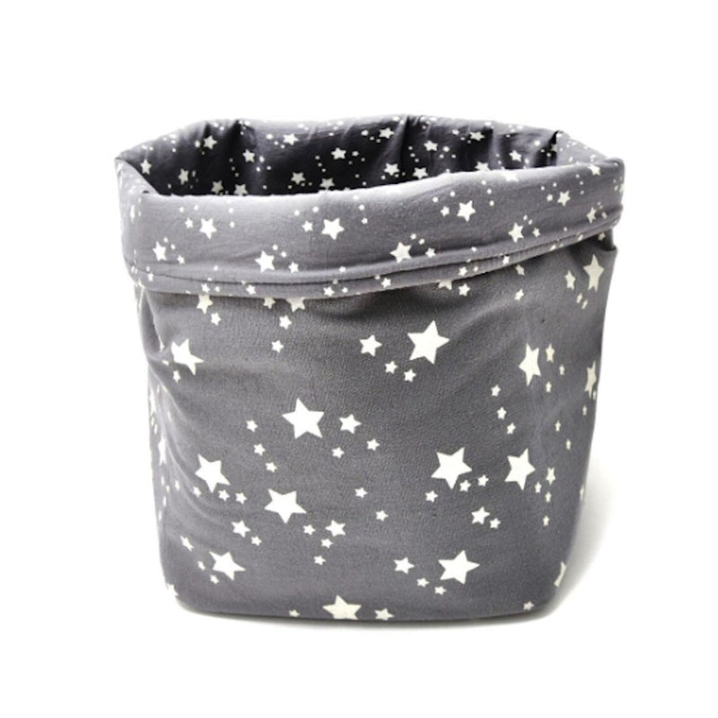 BASKET PRINT STAR - GREY AND WHITE STARS - SMALL