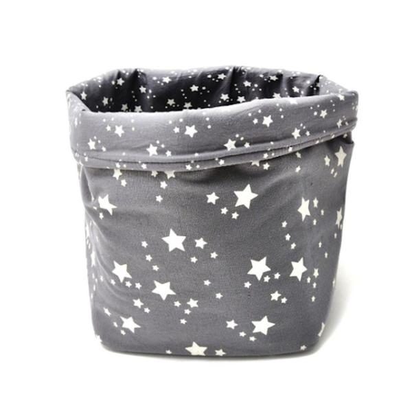 BASKET PRINT STAR - GREY AND WHITE STARS - MEDIUM