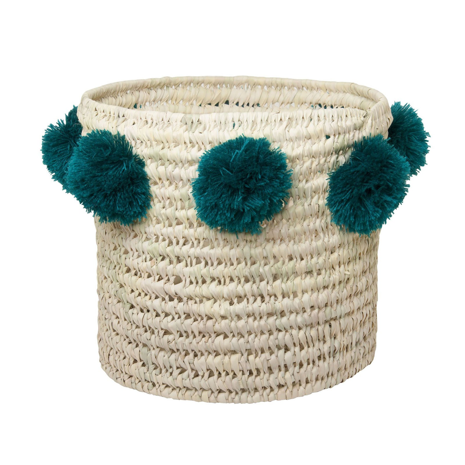 LOUIS BASKET BIG IN NATURAL STRAW + PEACOCK BLUE TASSELS