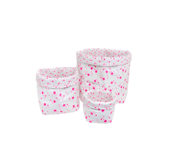 BASKET PRINT STAR - WHITE AND NEON STARS - MEDIUM