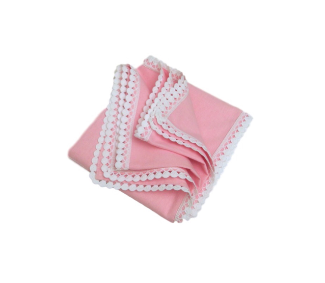 EMBROIDERED BLANKET - PINK WITH WHITE LACE