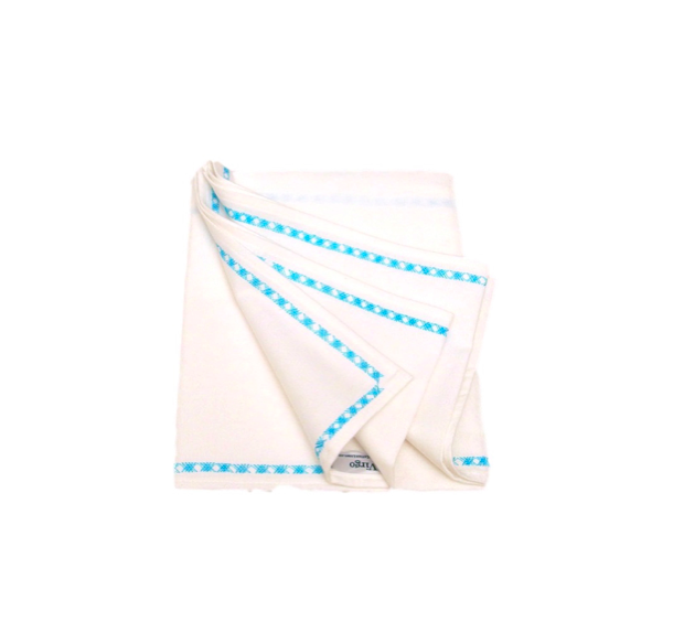 EMBROIDERED BLANKET - WHITE WITH BLUE PATTERN