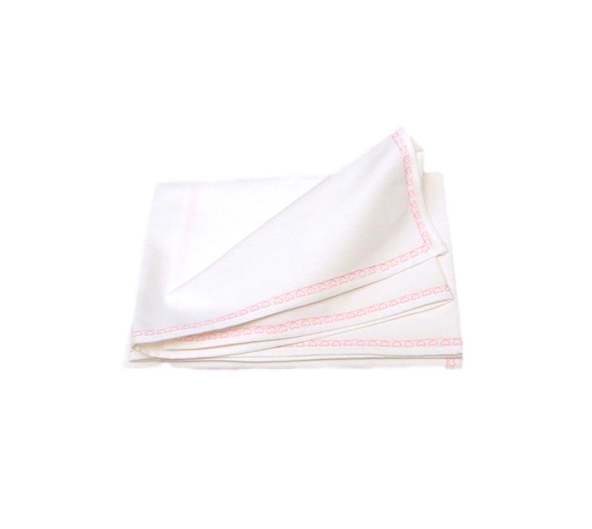 EMBROIDERED BLANKET - WHITE & PINK HEARTS