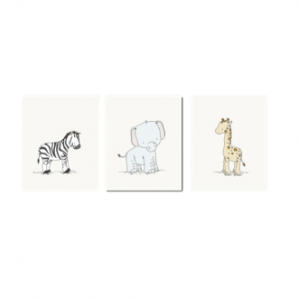 SET OF 3 - SAFARI ANIMALS - GIRAFFE, ELEPHANT, ZEBRA