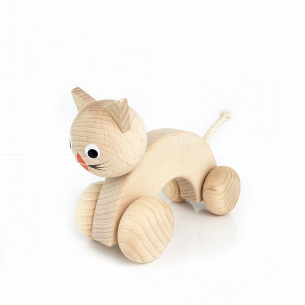 AYLA - Wooden Push Along Cat - Honey Tree Baby | Children's Toys | Teethers | Handmade Gift | Decor