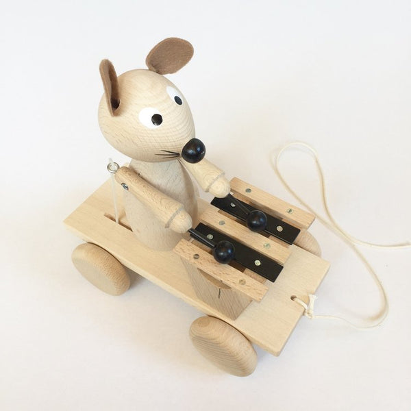 WILBUR - Wooden Pull Along Mouse With Xylophone - Honey Tree Baby | Children's Toys | Teethers | Handmade Gift | Decor