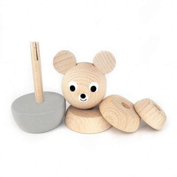 BENNY - Wooden Bear Stacking Puzzle Toy - Honey Tree Baby | Children's Toys | Teethers | Handmade Gift | Decor