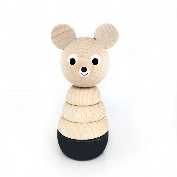 OLIVER - Wooden Bear Stacking Puzzle Toy - Honey Tree Baby | Children's Toys | Teethers | Handmade Gift | Decor