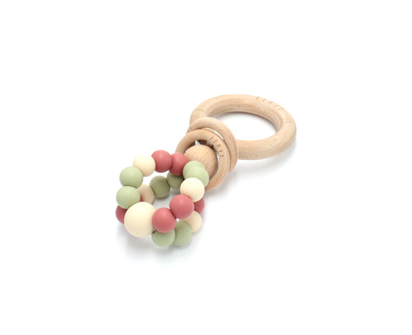 RING POP Teething Rattle Dusty Rose - Honey Tree Baby | Children's Toys | Teethers | Handmade Gift | Decor