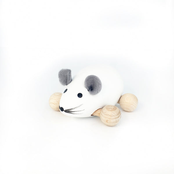 SNOWY - Wooden Push Along Mouse - Honey Tree Baby | Children's Toys | Teethers | Handmade Gift | Decor