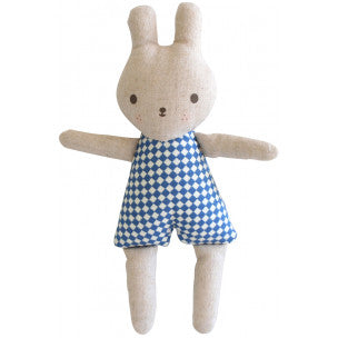 Alimrose Designs BONNIE BUNNY TOY RATTLE - Blue Check - Honey Tree Baby | Children's Toys | Teethers | Handmade Gift | Decor