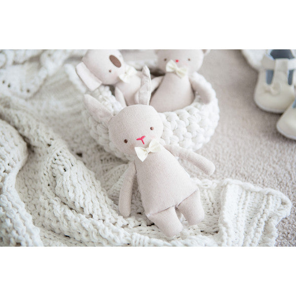 Alimrose Linen MINI TOY RATTLE - Bunny Rabbit (18cm) - Honey Tree Baby | Children's Toys | Teethers | Handmade Gift | Decor