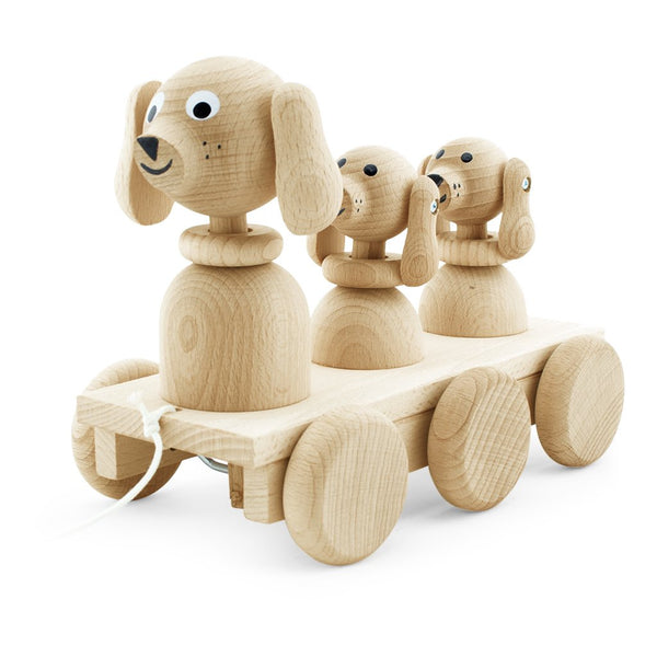 Wooden Pull Along Dog Family - Honey Tree Baby | Children's Toys | Teethers | Handmade Gift | Decor