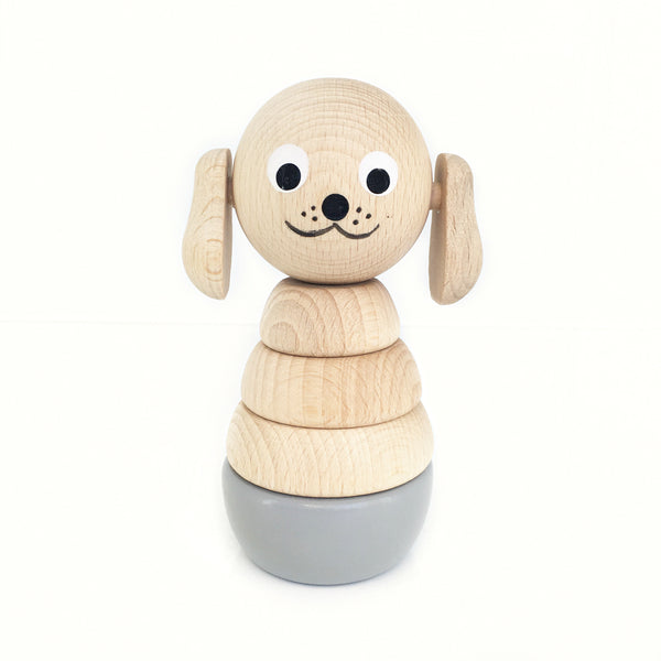 FRANKIE - Wooden Puppy Stacking Puzzle Toy - Honey Tree Baby | Children's Toys | Teethers | Handmade Gift | Decor