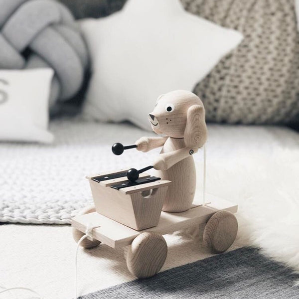 HENRY- Wooden Pull Along Dog With Xylophone - Honey Tree Baby | Children's Toys | Teethers | Handmade Gift | Decor