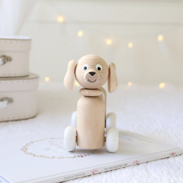 MIKEY - Wooden Dog With Beads - Honey Tree Baby | Children's Toys | Teethers | Handmade Gift | Decor