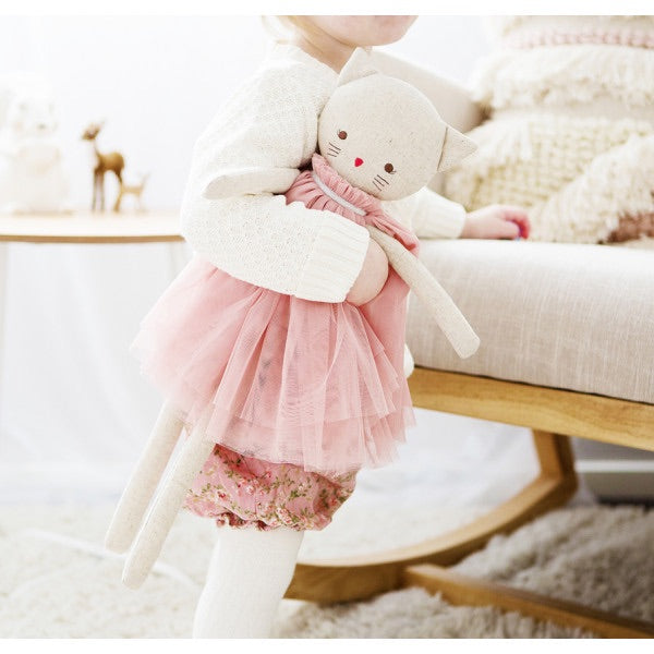 AURELIE LINEN CAT - Blush 48cm/ PRE ORDER - Honey Tree Baby | Children's Toys | Teethers | Handmade Gift | Decor