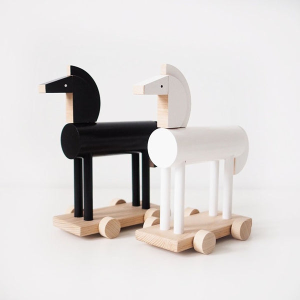 NOXUS - Wooden Push Along Horse (BLACK) - Honey Tree Baby | Children's Toys | Teethers | Handmade Gift | Decor