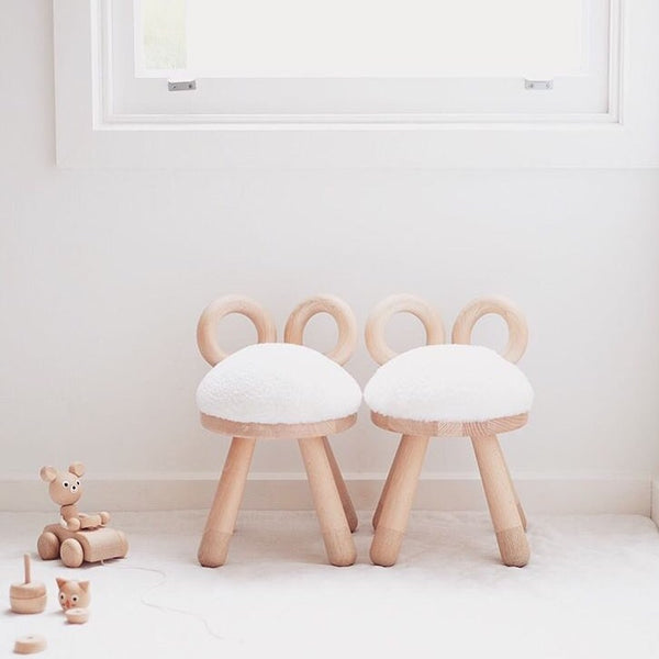 Faux Fur SHEEP CHAIR by Elements Optimal - Honey Tree Baby | Children's Toys | Teethers | Handmade Gift | Decor