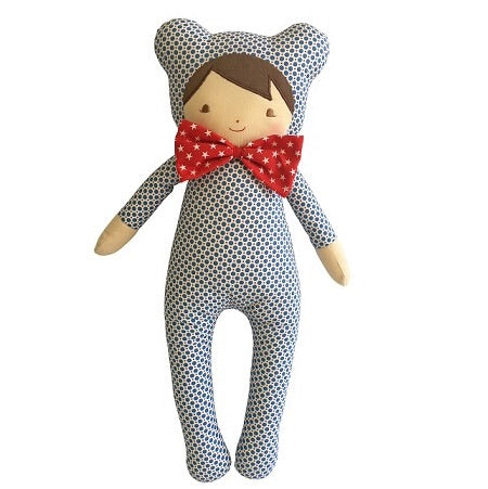 BABY IN BEAR SUIT - Blue Dottie 43cm