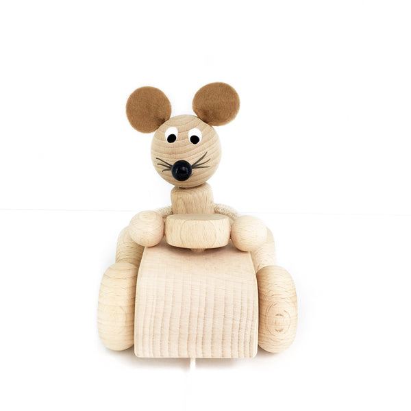 THEO - Wooden Pull Along Mouse In A Car - Honey Tree Baby | Children's Toys | Teethers | Handmade Gift | Decor