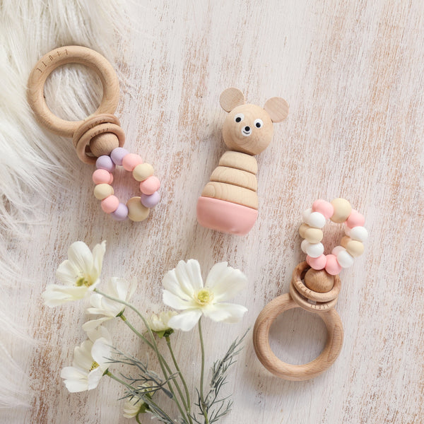 RING POP Teething Rattle Sweet Peach - Honey Tree Baby | Children's Toys | Teethers | Handmade Gift | Decor