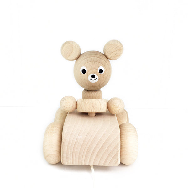 ARCHIE - Wooden Pull Along Bear In A Car - Honey Tree Baby | Children's Toys | Teethers | Handmade Gift | Decor