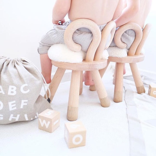 Faux Fur SHEEP CHAIR by EO - Honey Tree Baby | Children's Toys | Teethers | Handmade Gift | Decor