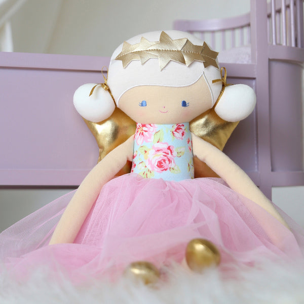 Alimrose Designs WILLOW FAIRY DOLL - Blue Pink - Honey Tree Baby | Children's Toys | Teethers | Handmade Gift | Decor