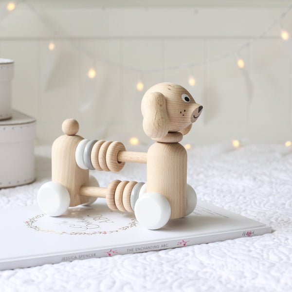 JASPER - Wooden Dog With Beads - Honey Tree Baby | Children's Toys | Teethers | Handmade Gift | Decor