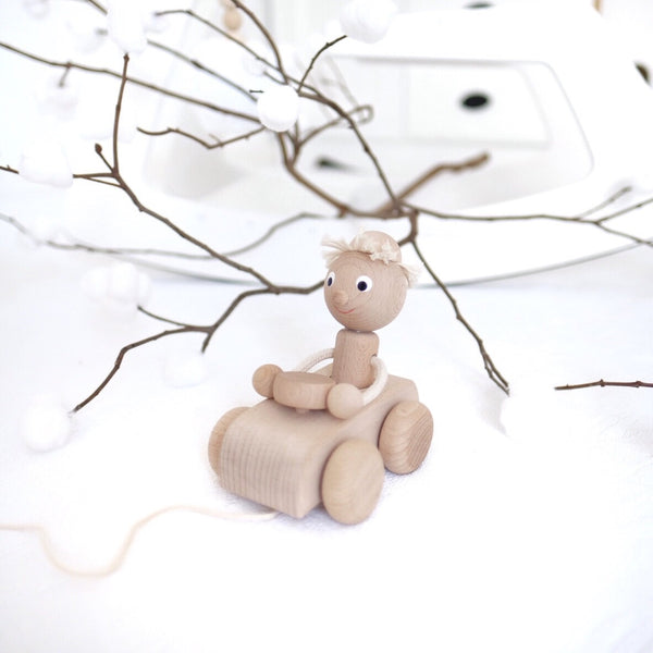 TOM - Wooden Pull Along Boy In A Car - Honey Tree Baby | Children's Toys | Teethers | Handmade Gift | Decor