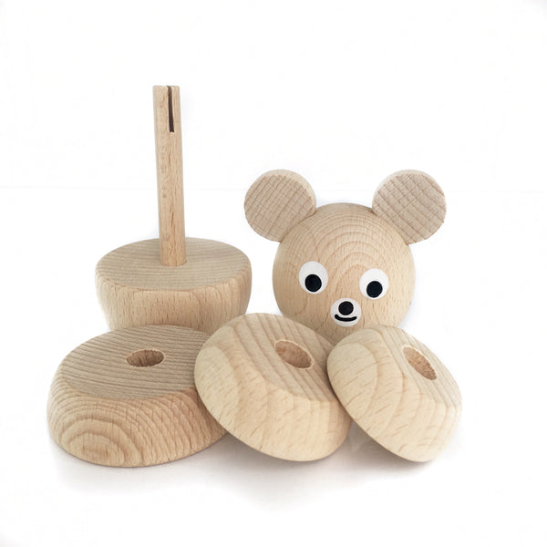RUDY - Wooden Bear Stacking Puzzle Toy - Honey Tree Baby | Children's Toys | Teethers | Handmade Gift | Decor