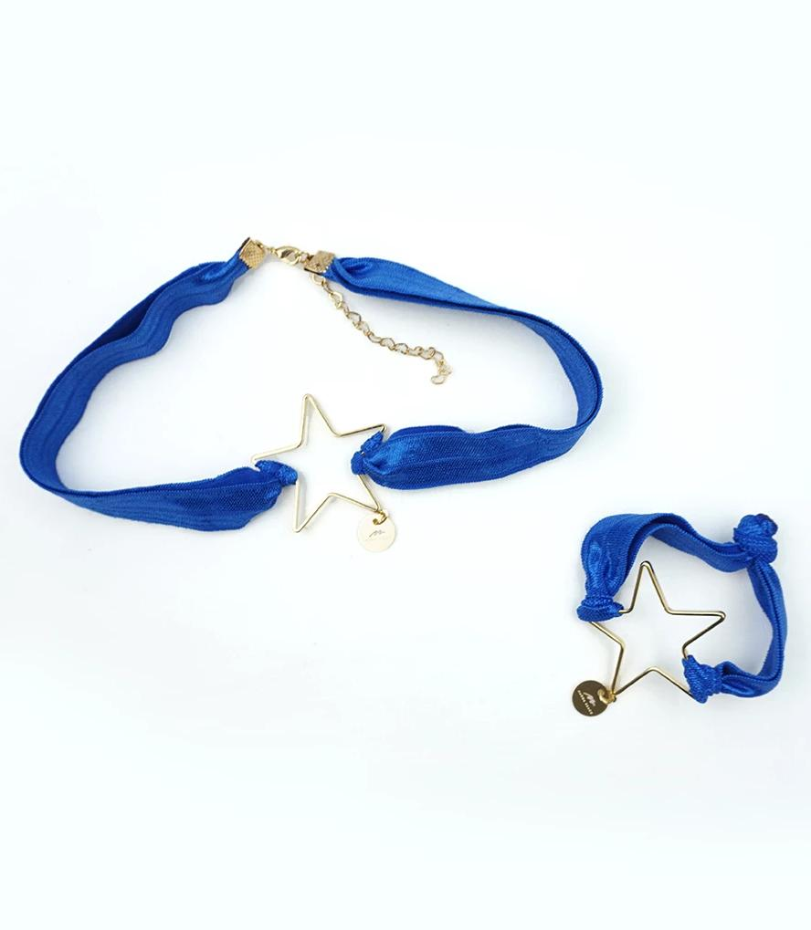 Star Choker & Bracelet Set - Blue