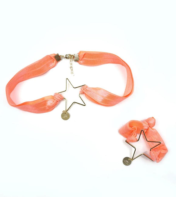 Star Choker & Bracelet Set - Orange