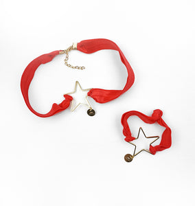 Star Choker & Bracelet Set - Red