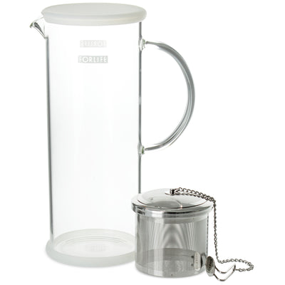 Lucent Glass Iced Tea Jug w/ Capsule Infuser 48 oz.