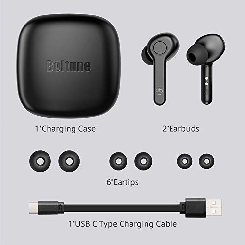 Wireless Earbuds, [Upgraded] Boltune Bluetooth V5.0 in-Ear Stereo [USB-C Quick Charge] IPX7 Waterproof Wireless Headphones 40Hours Playing Time Bluetooth Earbuds Built-in Mic Single/Twin Mode