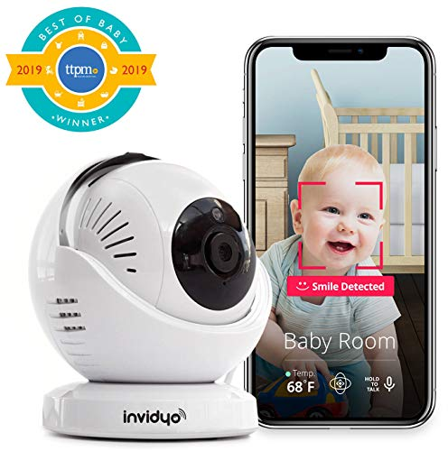 invidyo - WiFi Baby Monitor with Live Video and Audio | Cry Detection & Stranger Alerts | 1080P Full HD Camera, Night Vision, Two Way Talk, Temperature Sensor | Remote Pan & Tilt with Smart Phone App