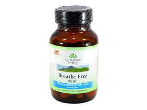 Organic India Breathe Free Herbal For ASTHMA lung Infection - 60 Capsules