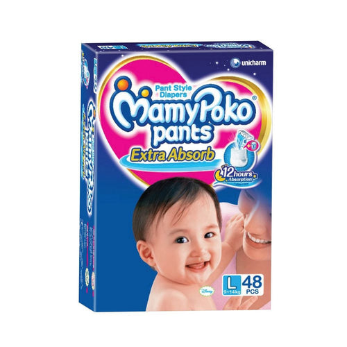 Mamy Poko Extra Absorb Pant Style Diapers Large - 48 Pieces