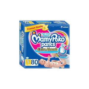 Mamy Poko Extra Absorb Pant Style Diapers Small - 80 Pieces