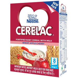 Nestlé Cerelac Infant Cereal Stage-2 (8 Months-24 Months) Wheat Apple Cherry 300 Gms