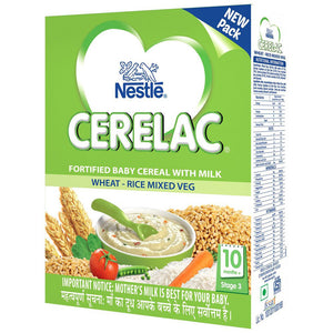 Nestlé Cerelac Infant Cereal Stage-3 (10 Months-24 Months) Wheat-Rice Mixed Veg 300 Gms