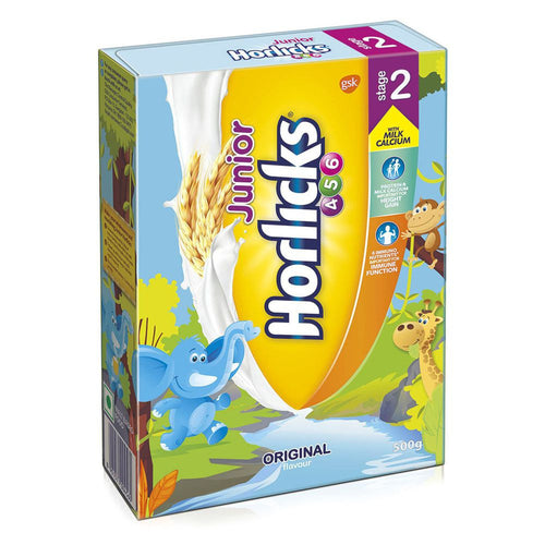 100% Healthy Junior Horlicks Health & Nutrition drink 500Gms Refill pack For Child (4-6 Year)