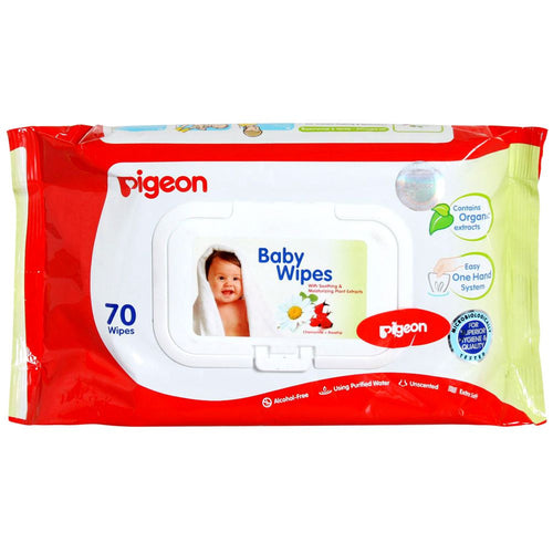 Pigeon Hand & Mouth Wipes For Baby Soft & Smooth Skin - 70 Pieces