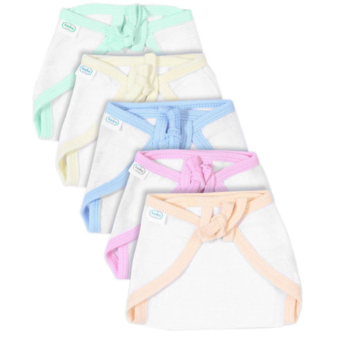 Babyhug U Shape Muslin Nappy Set Medium Pack Of 5 Multicolor