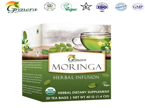 New 100% Grenera Organics Moringa Herbal Infusion - 20 Tea bags -HealthCare