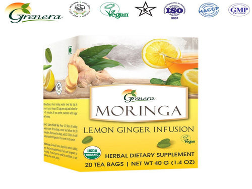 New 100% Moringa Lemon Ginger Infusion - 20 Tea Bags-HealthCare